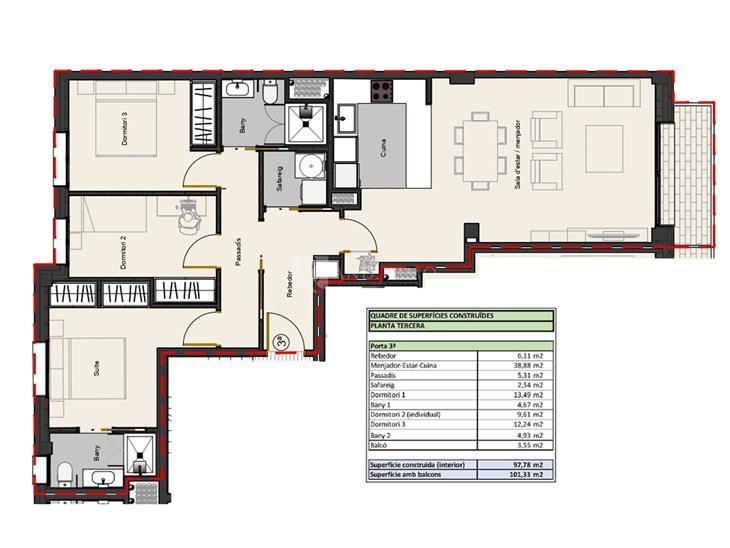 Pis en VENDA a Andorra la Vella: 101,33 m² - 420000,00